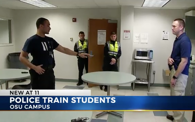 screen gram from a video of university police training students