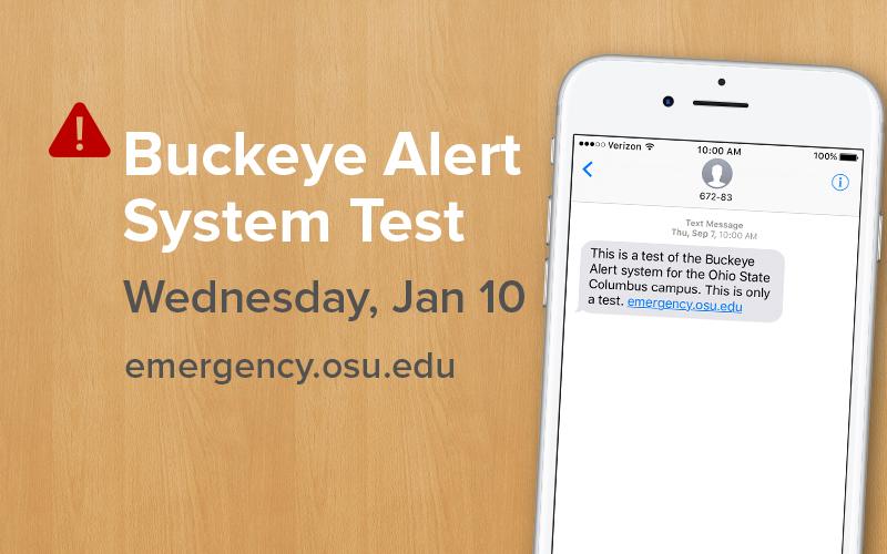 screenshot of a cell phone showing a buckeye alert message