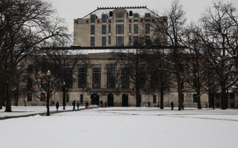 snow-covered Thompson Library
