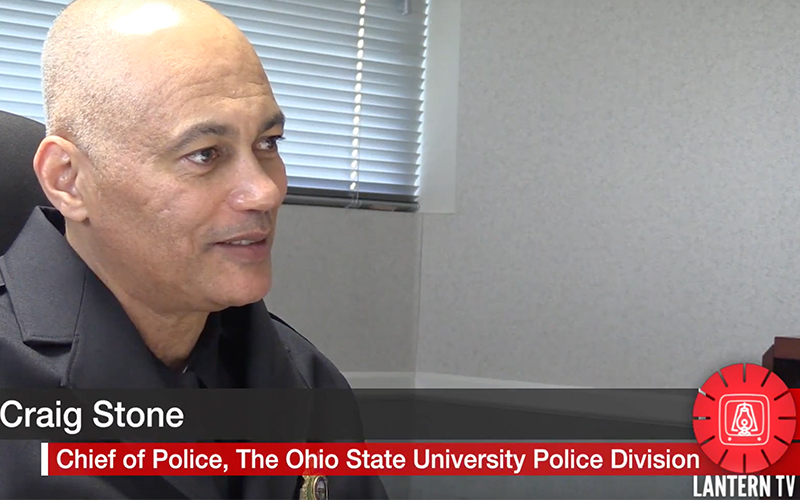 Chief Stone seated at his desk, talking with someone off-camera