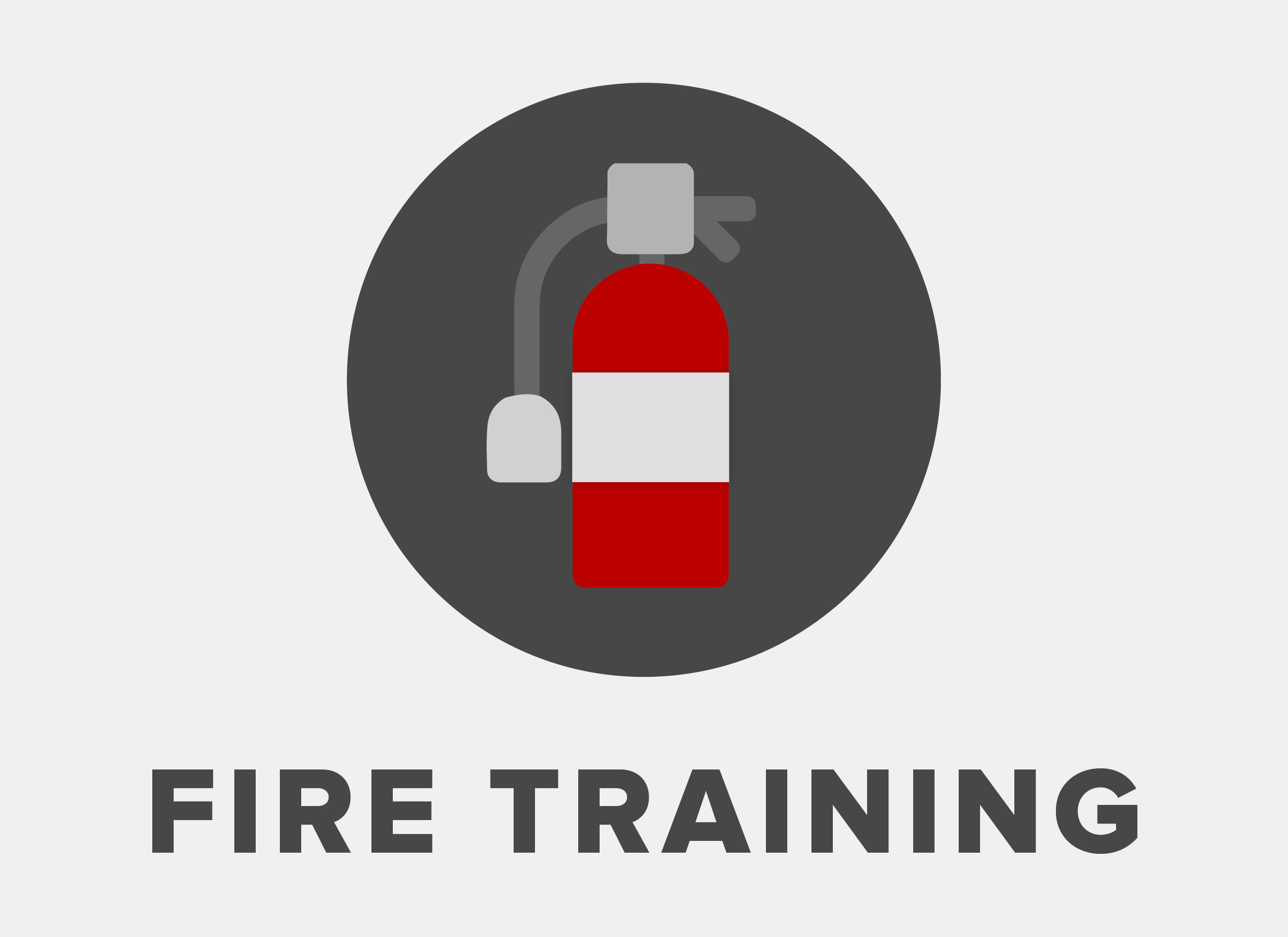 icon graphic of a fire extinguisher with the words fire training