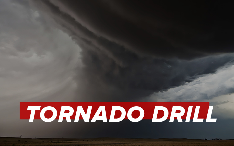 a tornado against a dark sky, with the words tornado drill over it