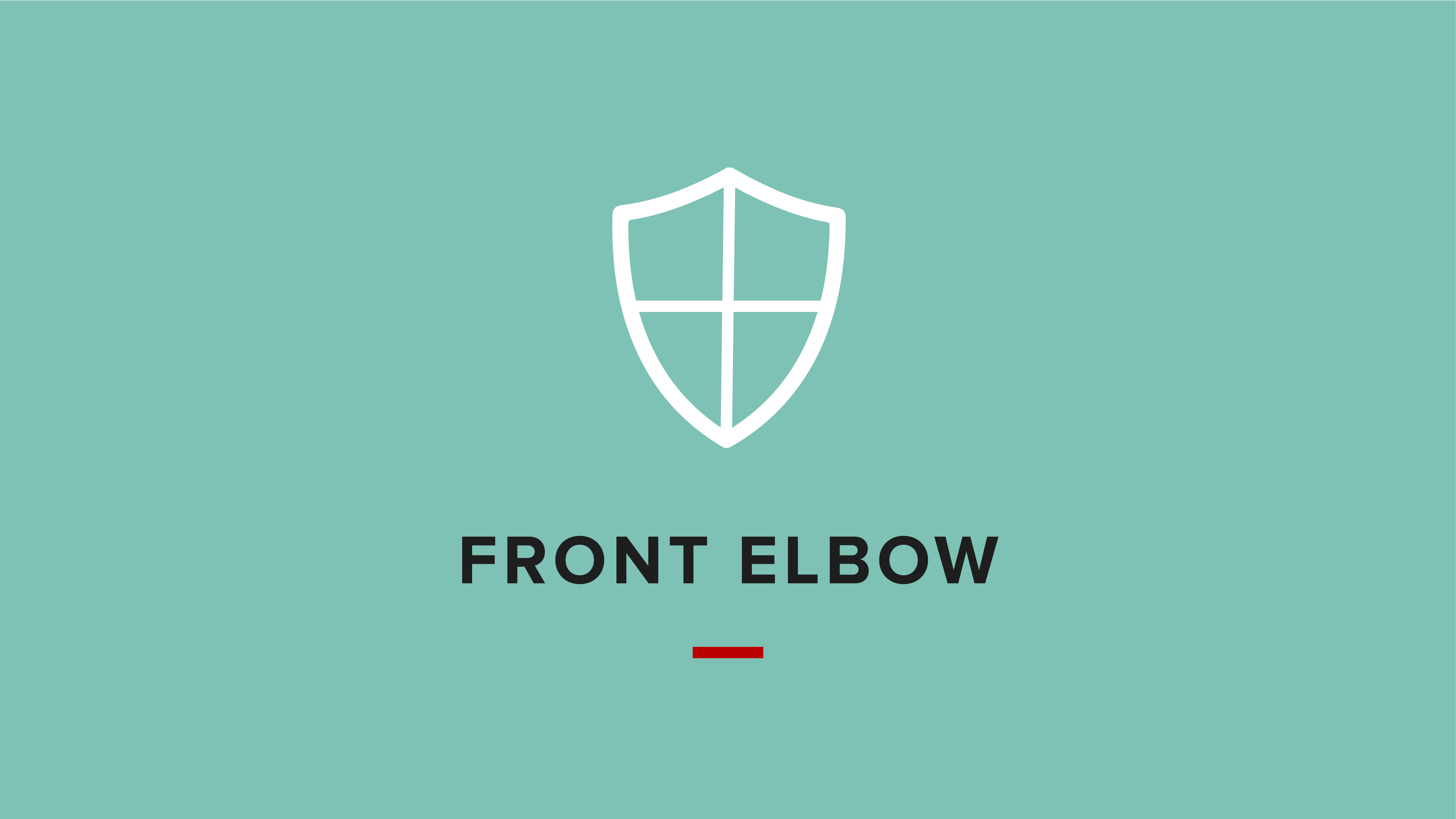Image with icon of a shield for the front elbow self defense tactic.