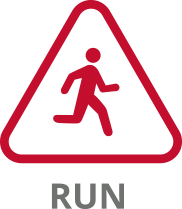 tile graphic representing run, a stick man running