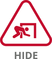 tile graphic representing hide, a man crawling into a small building space