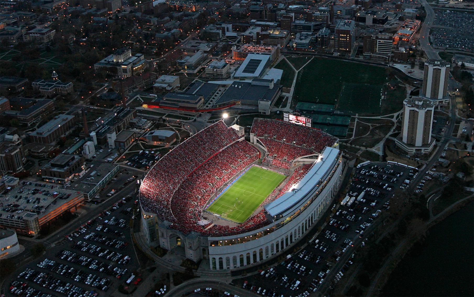 Ohio Stadium at night, under the lights