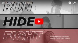 a screen grab of the run hide fight video title page