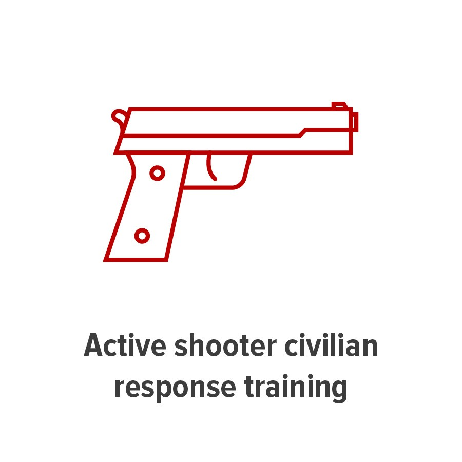 tile graphic representing active shooter civilian response training, a handgun