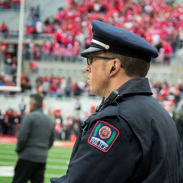 picture of a police officer at a football game