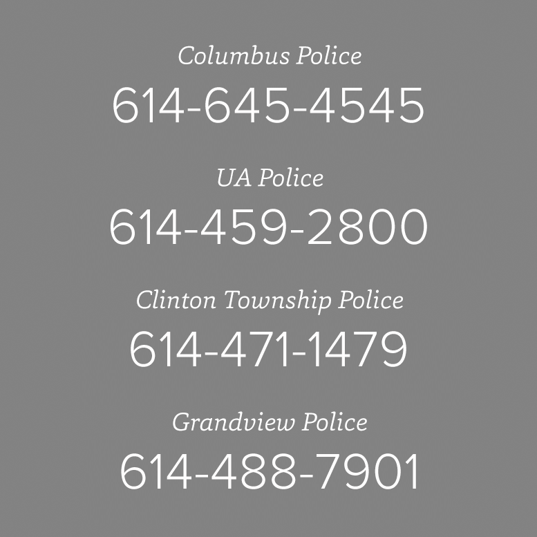 tile graphic with phone numbers of the various area agencies