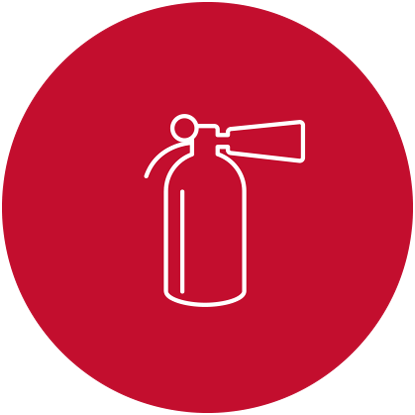 tile graphic for safety, fire extinguisher