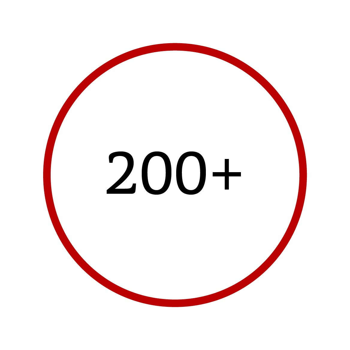 graphic of circle with text inside, two hundred plus