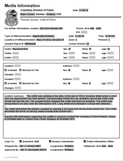 screenshot of the police report