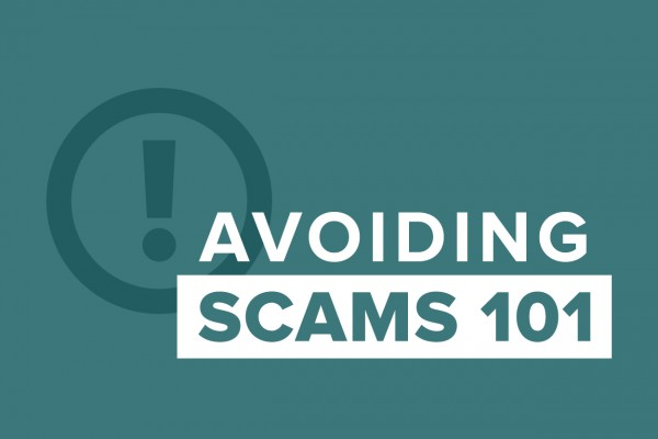 """graphic showing """"avoiding scams 101"""""""