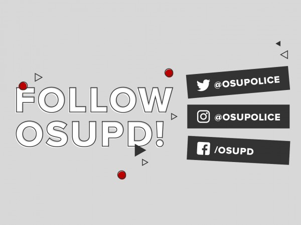 """Graphic saying """"Follow OSUPD' and the social media handles along the right."""