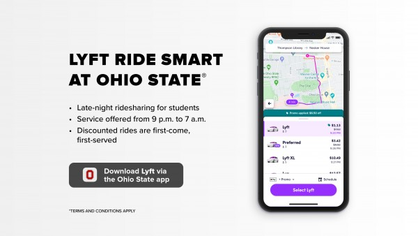 Image of smart phone with Lyft Ride Smart at Ohio State