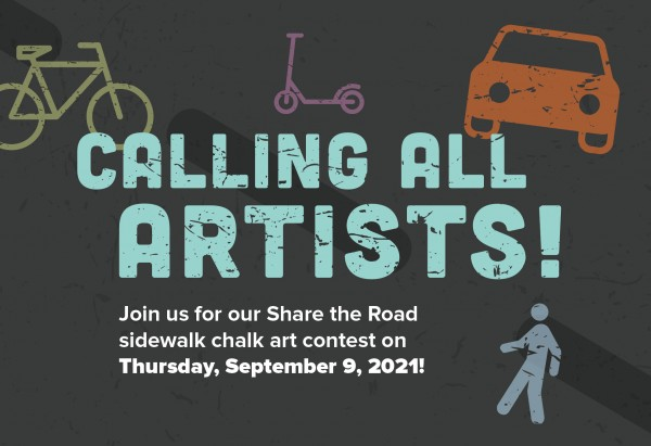 Image to advertise Share the Road sidewalk chalk contest