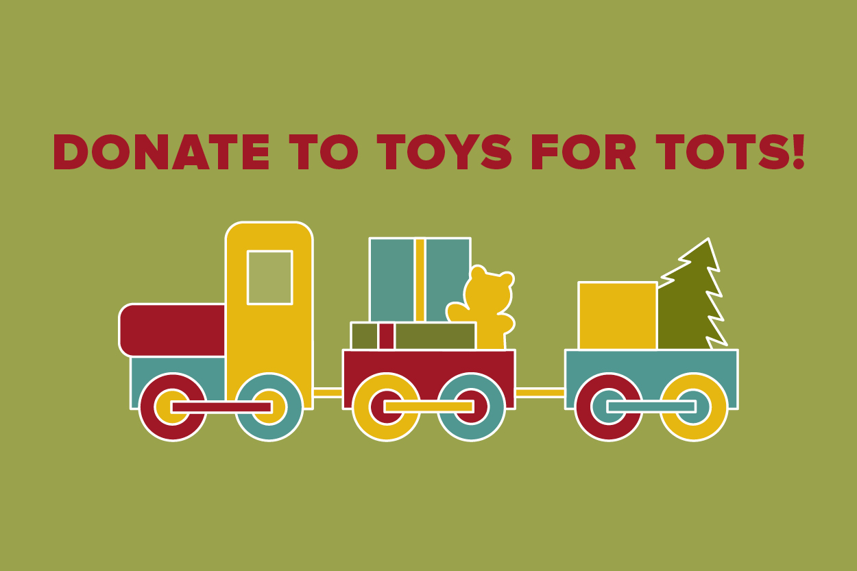 cartoon drawing of a traing with the words donate to toys for tots